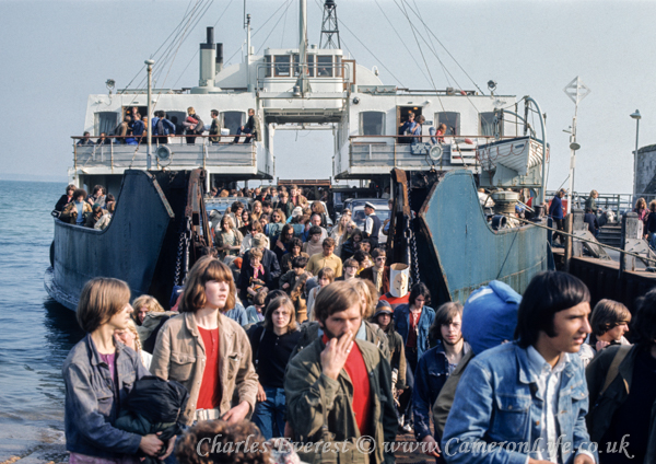 "Yarmouth IoW ferry ""Farringford"" bringing revellers to Afton 1970"